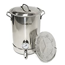 GasOne 32QT - 8 Gallon Stainless Steel Home Brew Pot Brew Kettle Set 32 Quart TRI PLY Bottom for Beer Brewing Includes Lid Ball Valve Thermometer False Bottom Mesh Tube Tool Complete Kit …