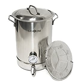 GasOne Stainless Steel Home Brew Pot Brew Kettle Set TRI PLY Bottom for Beer Brewing Includes Lid Ba