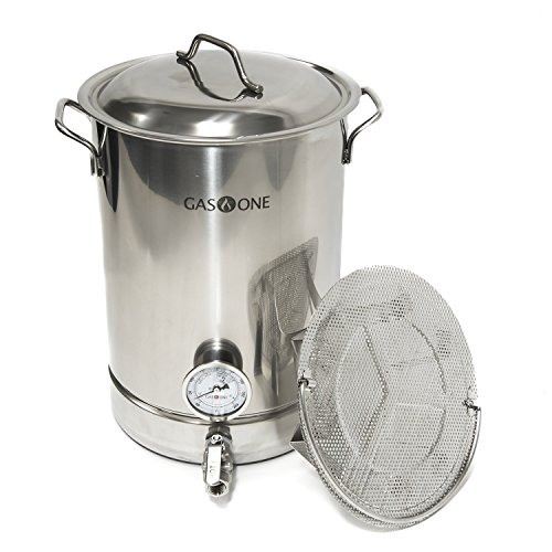 (GasOne 32QT - 8 Gallon Stainless Steel Home Brew Pot Brew Kettle Set 32 Quart TRI PLY Bottom for Beer Brewing Includes Lid Ball Valve Thermometer False Bottom Mesh Tube Tool Complete Kit ...)