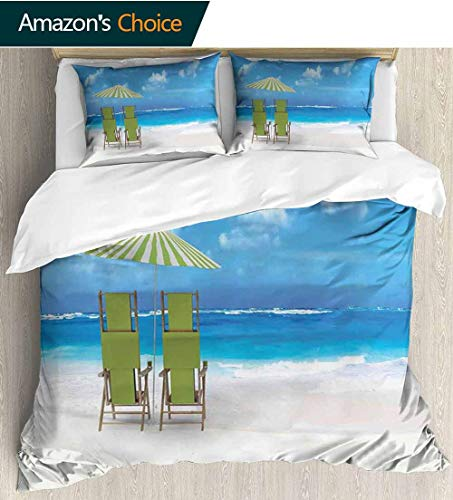 Seaside Modern Pattern Printed Duvet Cover,Sunshade Drinks Pair of Reclining Chairs Facing to Ocean Seascape 100% Cotton Beding Linens for Kids Children 68