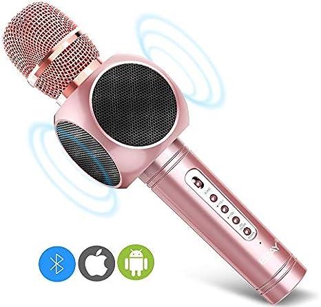 ERAY Micrófono Inalámbrico Karaoke, Micrófono karaoke Bluetooth 4 en 1, 2 Altavoces Incorporados, 3.5mm AUX, Compatible con PC/ iPad/ iPhone/ Smartphone, Color Rosado