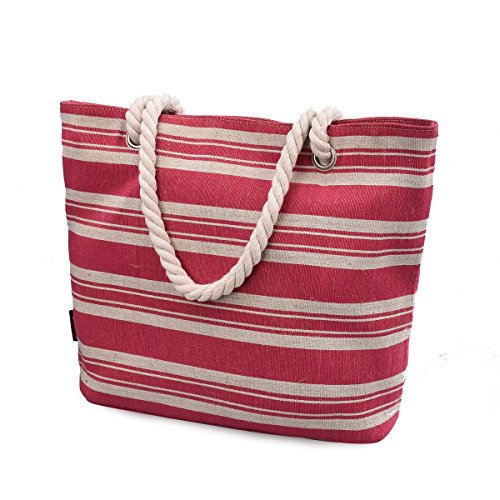 DGY Printed Large Canvas Tote Purses Beach Bags and Totes for Women Multicolor Shoulder Bag 252 (Stripe Red -