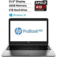 2016 HP Probook Flagship High Performance Laptop PC, 15.6-inch LED Backlit Display (1366 x 768), AMD A10-8700P Processor, 16GB DDR3 RAM, 1TB HDD, Radeon R6 Graphics, DVD±RW, HDMI, Windows 10