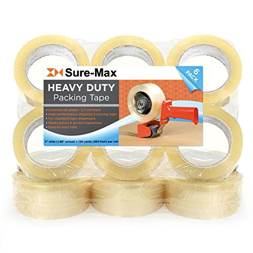 """Sure-Max 12 Rolls Heavy-Duty Shipping & Packing Tape (2"""" x 120 yard/360' Each) - Moving & Adhesive Carton Sealing - 2.7mil Clear"""