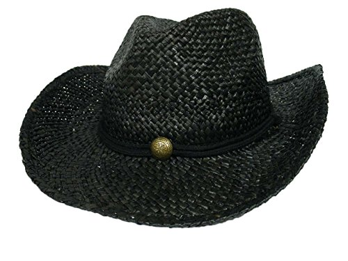 MG Tea Stained Raffia Straw Cowboy Hat - Black