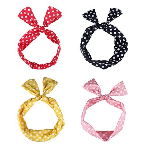 ANBALA Wire Headband 4 Pcs Cute Bowknot Polka Dot Wire Headband Hair Holders for Women and Girls -