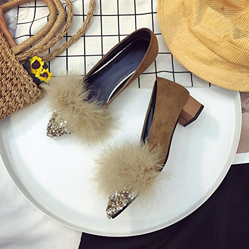 Pointed For Low Shoes Casual T Suede Loafers Heel Toe Slip Sequin Brown On Women Penny JULY UqqPwfB