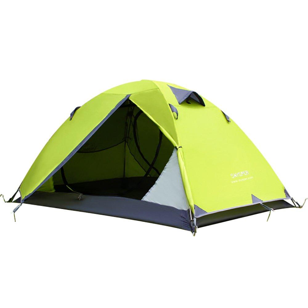 SKYSPER Tienda de campaña Profesional Doble Capa Varilla de Aluminio Ultraligera Impermeable Mosquitera para 2 Personas Familiar Montaña Pesca Camping Playa 200 * 140 * 110CM con Bolsa de Transporte V8012-Tent-1572-green-SD
