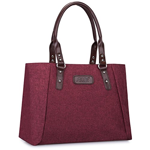 S-ZONE Women's Handbags Lightweight Large Tote Casual Work Bag (Wine Red) by S-ZONE