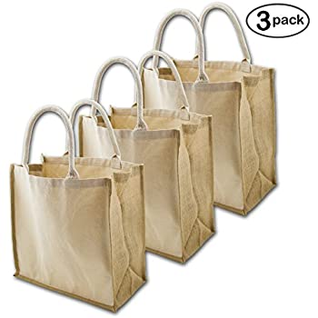 Amazon.com: Natural Jute Burlap Grocery bag with cotton webbed ...