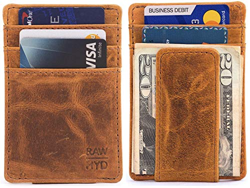 (RAWHYD Genuine Leather Minimalist Wallet with Magnetic Money Clip - Made From 100% Top Grain Leather (Reddish)