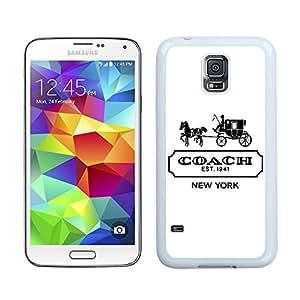 Hot Sale Coach logo 2 White Samsung Galaxy S5 I9600 G900a G900v G900p G900t G900w Screen Phone Case Beautiful and Unique Custom Designed