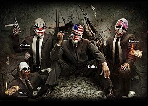 WSJDE Payday 2 Maschera da Clown Heist Dallas//Wolf//Chains//Hoxton Cosplay Halloween Horror Motosega Clown Mask Masquerade