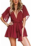LUKYCILD Women Summer Deep V Neck Polka Dot Print Casual Backless Short Romper Jumpsuit US 0-2/Tag Size S (Red)