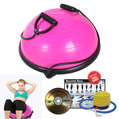 RitFit Balance Ball Trainer with Resistance Bands(Free Hand Pump, Resistance Bands, Exercise Wall Chart, Workout DVD, Measuring Tape) (#Pink)