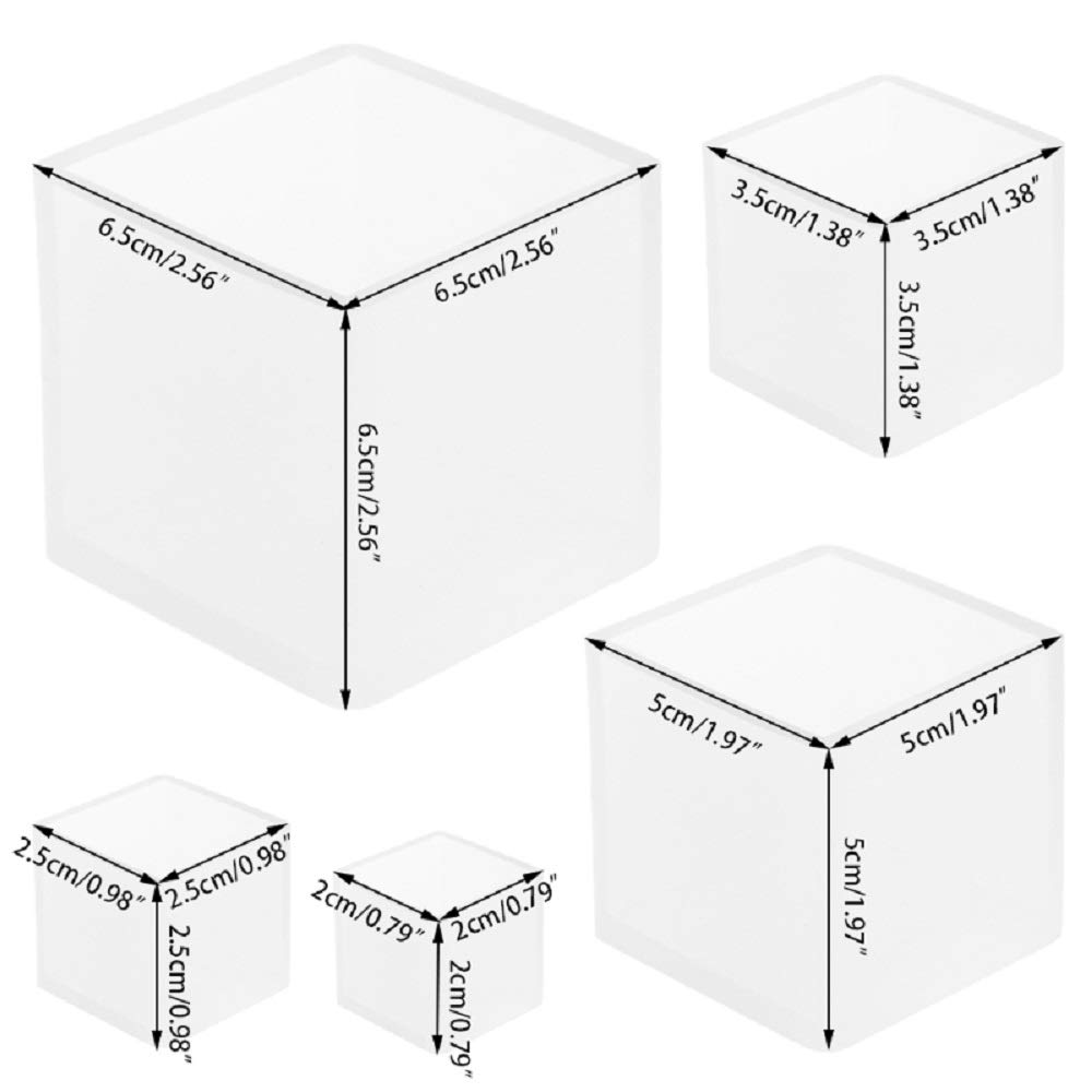 Yalulu 5Pcs 25-60mm Clear Square Silicone Mold Resin DIY Silicone Mould Handmade Jewelry Making Epoxy Resin Molds for Polymer Clay, Crafting, Resin Epoxy, Jewelry Making