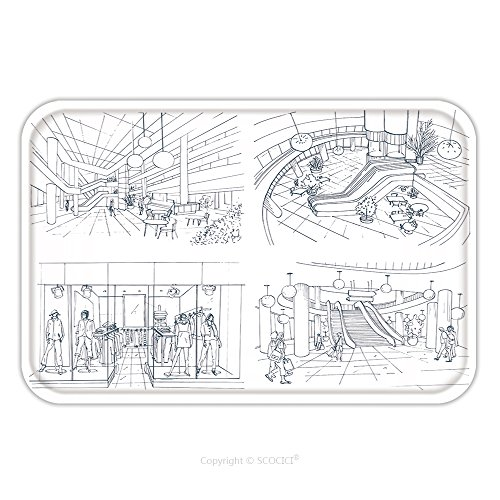 Flannel Microfiber Non-slip Rubber Backing Soft Absorbent Doormat Mat Rug Carpet Set Of Modern Interior Shopping Center Collection Various Space Mall Contour Sketch Illustration 573689722 for - Mall Capecod