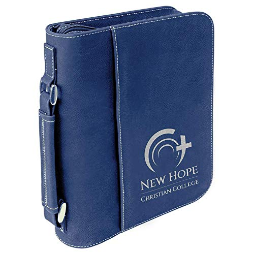 Custom Laser Engraved Bible Book Cover Personalize Online (Large, Blue) by AlphaNumeric Engravers