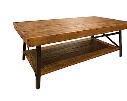 Farmhouse Industrial Coffee Table Wood Modern Legs Rustic Solid Furniture  Rectangular Book Laptop Living Room Vase
