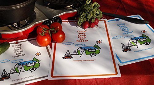 Camping For Foodies Flexible Cutting Mats with Retro RV Camper Trailer Theme Design, Set of 3 for this Dutch Oven Tomato and Avocado Frittata breakfast camping recipe