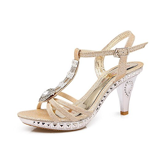 Amoonyfashion Donna Materiale Morbido Fibbia Open Toe Tacchi Sandali Con Tacco In Oro Massiccio