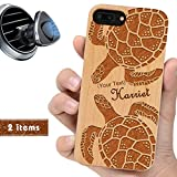 iProductsUS Customized Phone Case Compatible with iPhone 8 Plus, 7 Plus, 6 Plus, 6s Plus and Magnetic Mount, Wood Cover Engrave Turtles and Name,Built-in Metal Plate (Black or Cherry, 5.5' inch)