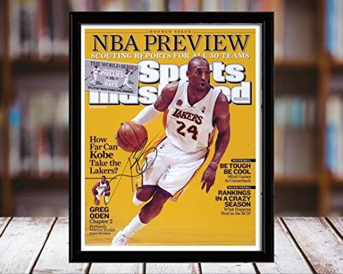 (Kobe Bryant Sports Illustrated Autograph Replica Print - NBA Preview - Los Angeles Lakers - 10/28/8 - 5x7 Desktop Framed Print)