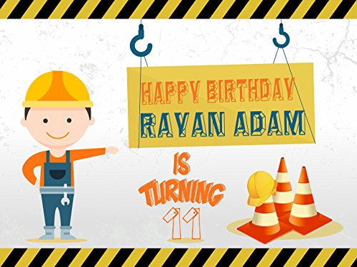 Custom Construction Sign Caution Cones Boy Worker Banner Decoration Birthday Party Poster with Crane - size 24x36, 48x24, 48x36; Birthday Banner Wall Décor, Handmade Party Supplies Poster Print -