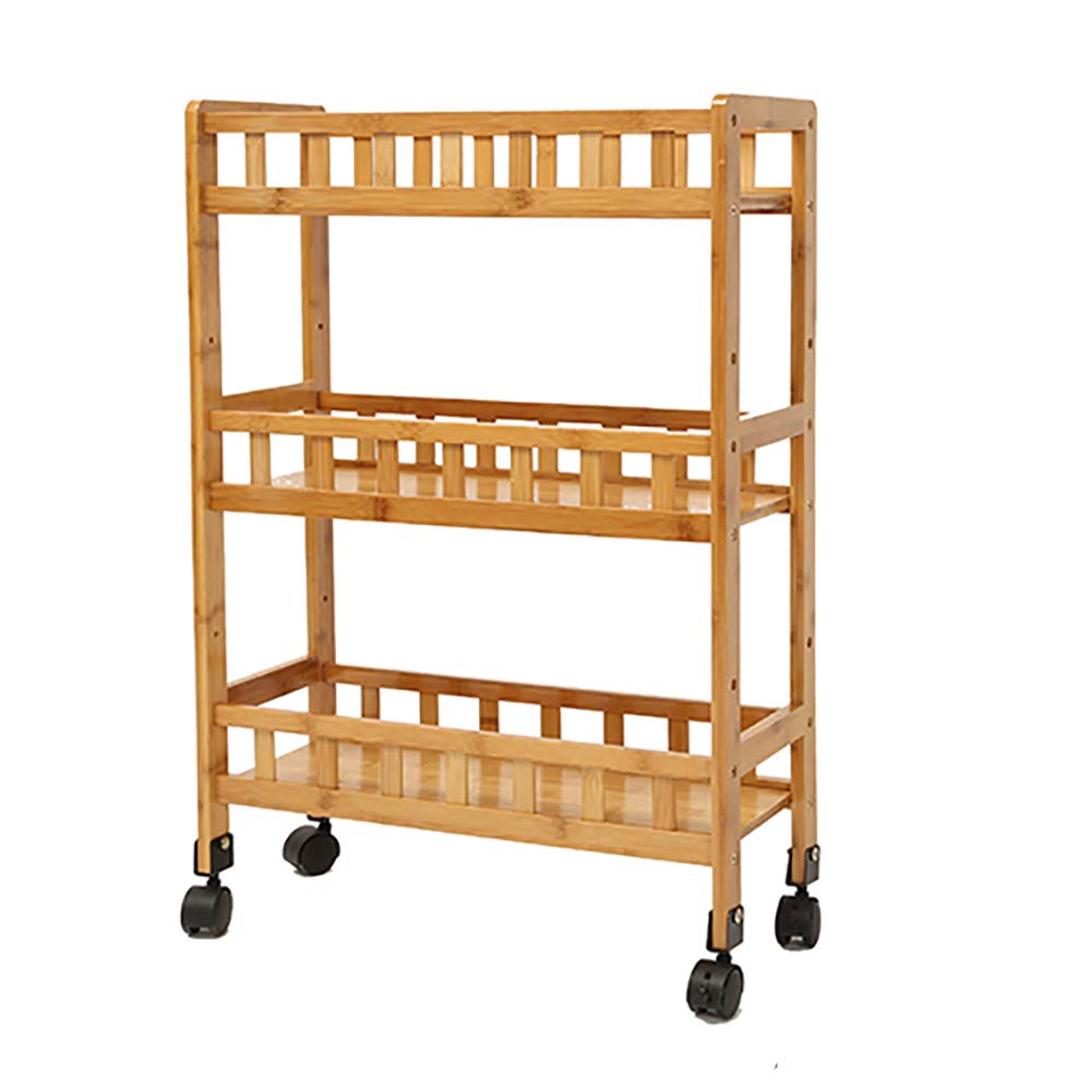 YZJJ Kitchen Rack, Wheeled Trolley, Easy to Move, Solid Wood Frame Saves Space, Microwave Oven Rack Kitchen Utensil Storage Rack for Easy Installation