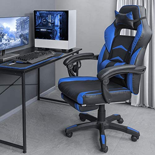 OKVAC Racing Style PC Video Gaming Chair, Home Office High-Back Ergonomic Backrest Executive Seat, Height Backrest Adjustment, E-Sports Recliner Swivel with Headrest Lumbar Pillow Footrest Blue