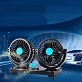 Minzhi 12V/24V 360 Degree Rotation Adjustable Dual Head Car Auto Cooling Air Fan 2 Speed Thin Grille Mute Summer Fan