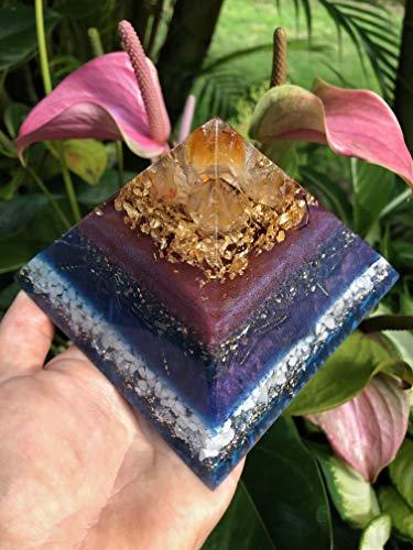 Honi o Ka Lā Sun Kiss Orgone Pyramid with Citrine, Gold and Magnesite