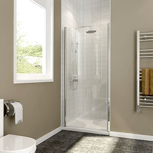 SHOWER FP34 Pivot Swing Shower Door, Clear Glass, Chrome Finish, 34