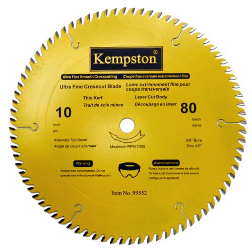 Kempston 99552 10-Inch by 80 Tooth Professional Thin Kerf Ultra Fine Crosscut Blade with 5/8-Inch Arbor (Kerf Thin Cross Cut Fine)