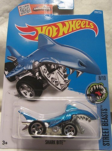 Shark Bite Hot Wheels 2016 Street Beasts 1:64 Scale Collectible Die Cast Metal Toy Car Model #8/10 on International Long Card