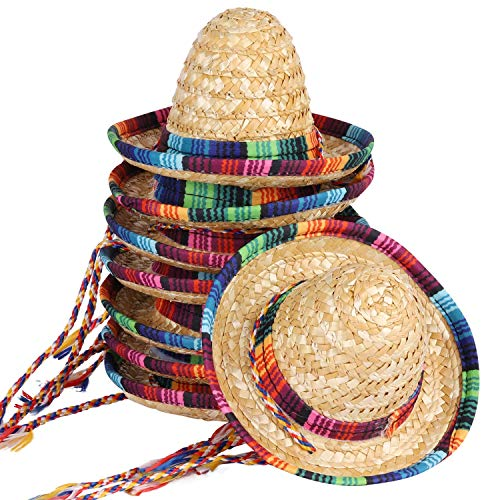 BTYMS 8 Packs Mini Sombrero Party Hats Mexican Hat Party Decorations Party Supplies Costume Hats for Adults, Kids, Dolls, Pets - 5.9 Inch