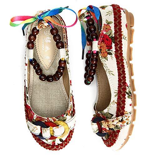 la Las de de Mocasines de la Vendimia Vendimia Qiusa Gran Cuentas Planos con con Sandalias de la Flor Mujeres de Cordones Beige tamaño f8qgR