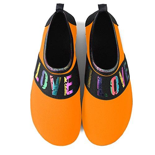 JOINFREE Damen Herren Kid Sommer Wasser Schuhe Barfuß Schuh Quick Dry Aqua Socken Yoga Band Orange
