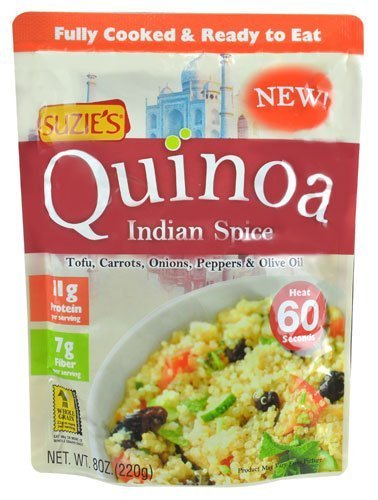 Suzie's Quinoa Ready-to-Eat & Fully Cooked Indian Spice, 8 Ounce (Pack of 18) by Suzie's