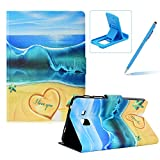 Herzzer Wallet Folio Case for Galaxy Tab A 7.0 T280,Bookstyle Flip Pu Leather Case for Galaxy Tab A 7.0 T280, Stylish Pretty Summer Beach Printed Stand Leather Case with Soft TPU Inner