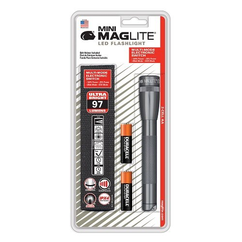 Maglite Mini LED 2-Cell AA Flashlight with Holster, Gray (Maglite Gift Mini Aa)