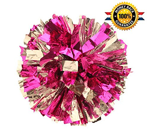 Pack of 2 Metallic Foil & Plastic Ring Pom Poms (pink with silver)