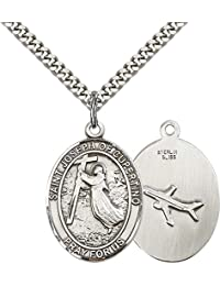 """Sterling Silver St. Joseph Of Cupertino Pendant with 24"""" Stainless Steel Heavy Curb Chain. Patron Saint of Pilots/Airforce"""