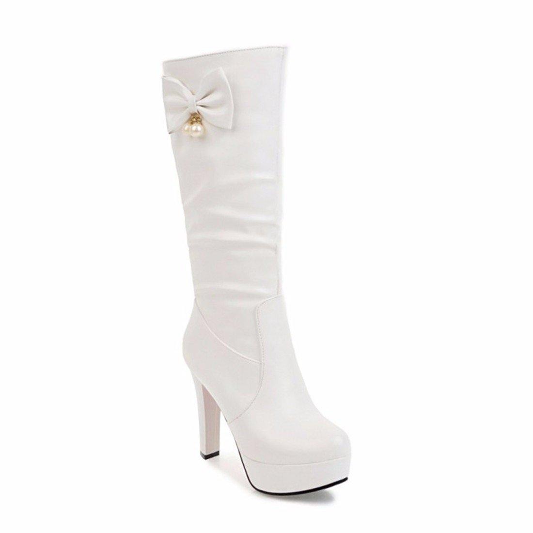 Weibliche Weibliche Weibliche Winterstiefel Bogen Diamant Größe hohe Stiefel weiß 35 43b3f7