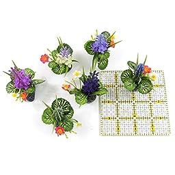 SAGA Assorted Miniature Plastic Aquarium Plant Decoration Ornaments, 6 Pieces 2.75 Inches