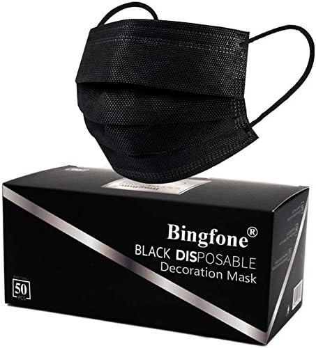 Disposable Face Mask 50pcs 3Ply Face Mask Disposable Face Masks - Black