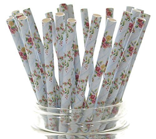 Wedding Flowers Straws (25 Pack) - Blue Elegant Dinner Party Supplies, Formal Floral Straws, Blue Flower Tea Party Straws, Girls Fancy Birthday Party