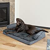 Furhaven Pet Dog Bed | Orthopedic Plush Faux Fur & Décor Comfy Couch Traditional Sofa-Style Living Room Couch Pet Bed w/ Removable Cover for Dogs & Cats, Diamond Gray, Large
