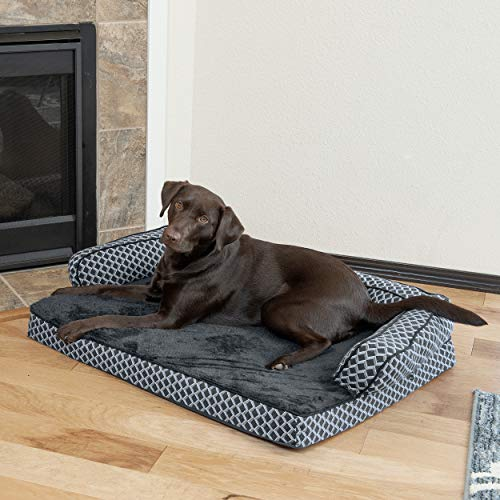FurHaven Pet Dog Bed | Orthopedic Plush & Décor Comfy Couch Sofa-Style Pet Bed for Dogs & Cats, Diamond Gray, Large