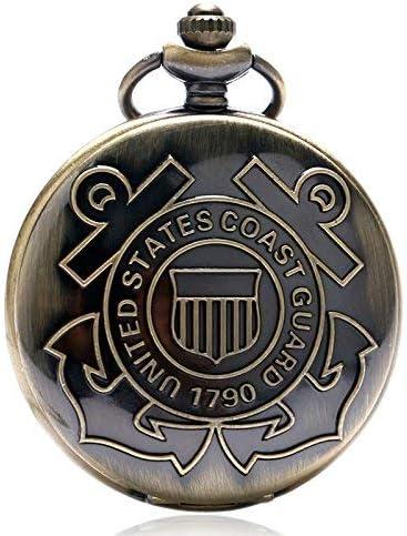 DZX Orologio da Tasca da Uomo, Orologio da Tasca al Quarzo Bronzo Vintage della Guardia costiera degli Stati Uniti 1790, Regali per Uomo , Orologi da Tasca da Uomo Meccanici